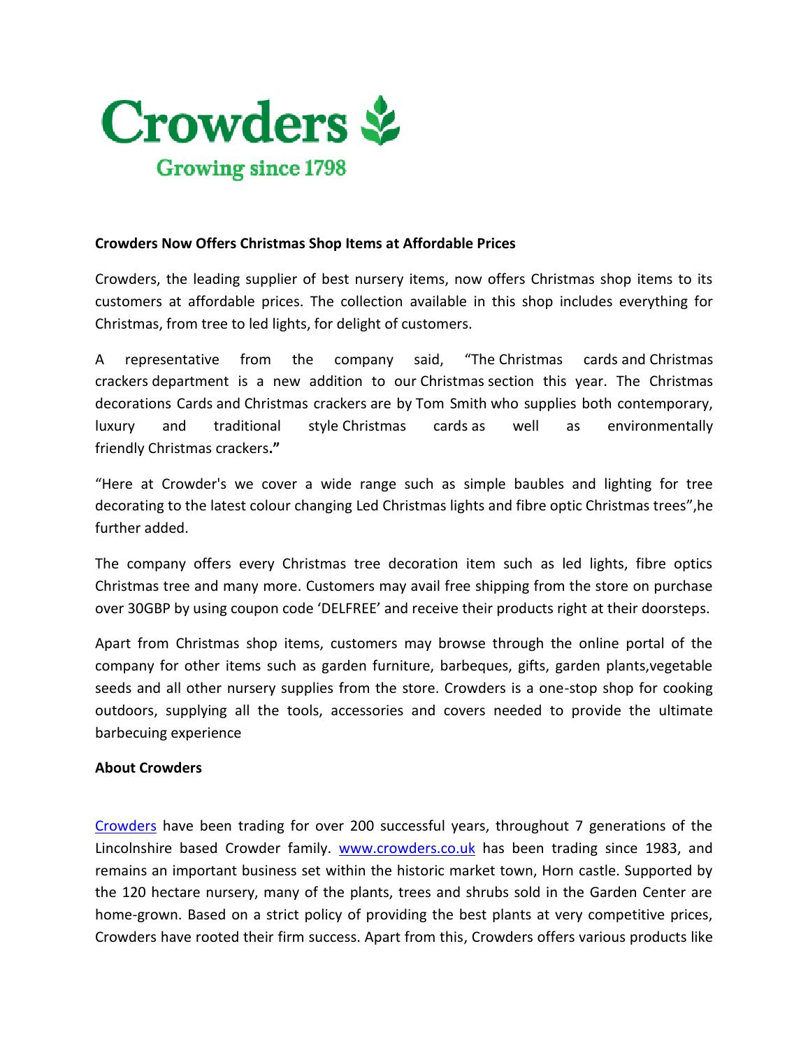 Crowders Now Offers Christmas