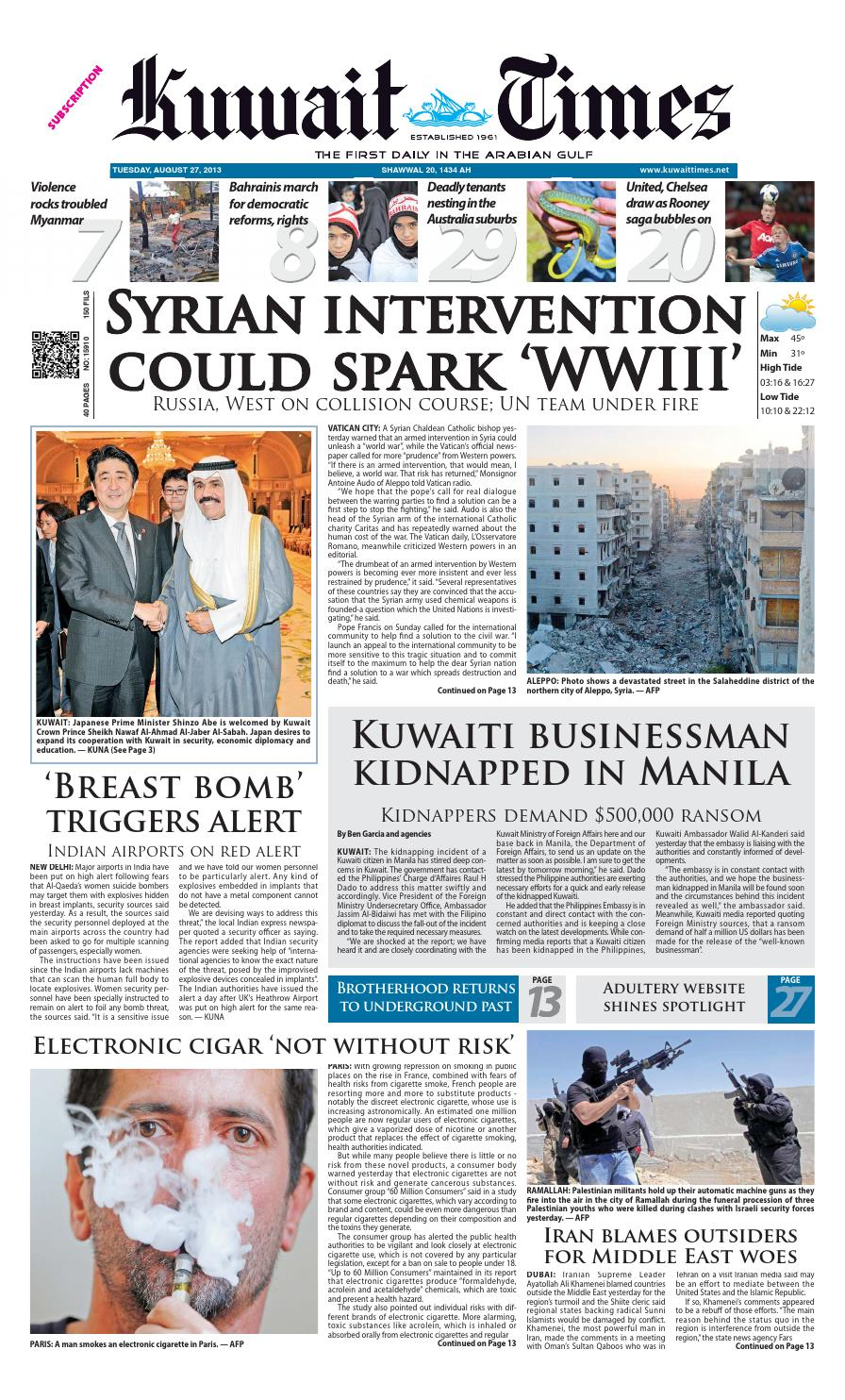27 Aug 2013 By Kuwait Times Issuu