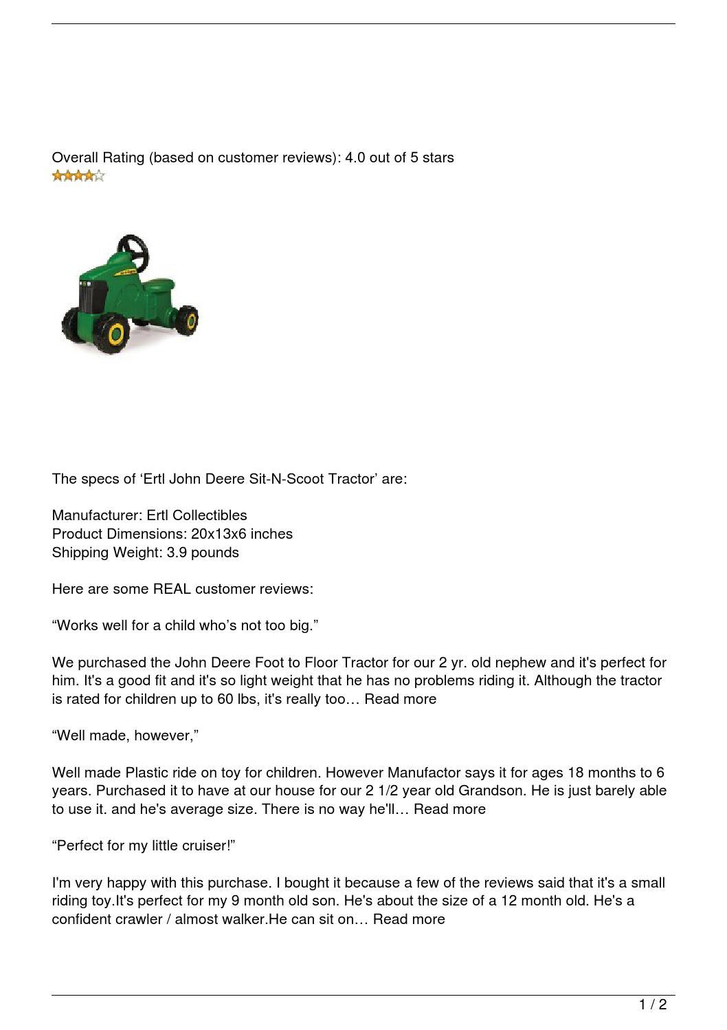 Ertl John Deere Sit N Scoot Tractor Review By Beavingeorge