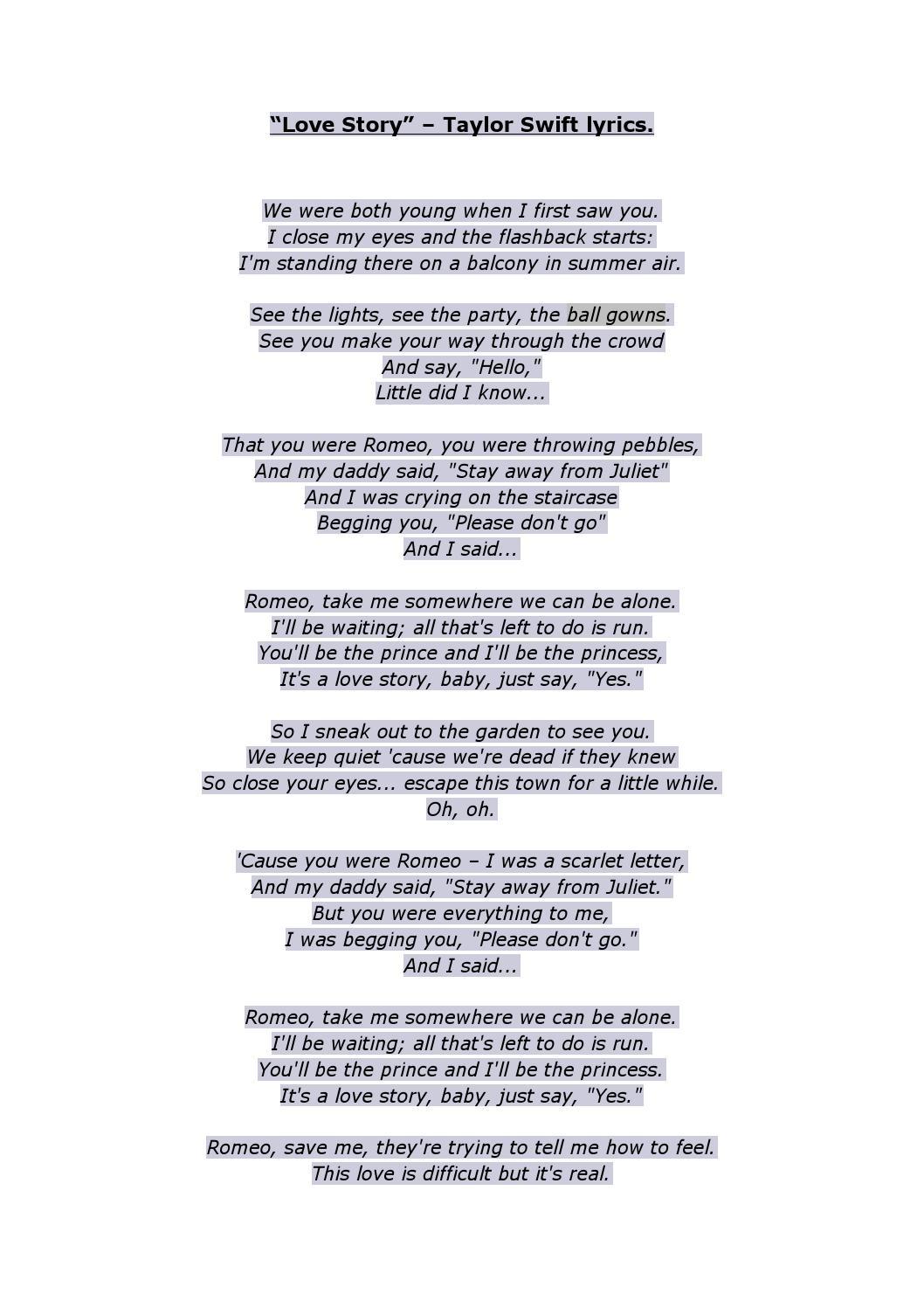 Love Story Taylor Swift Lyrics By Hannah Alley Issuu