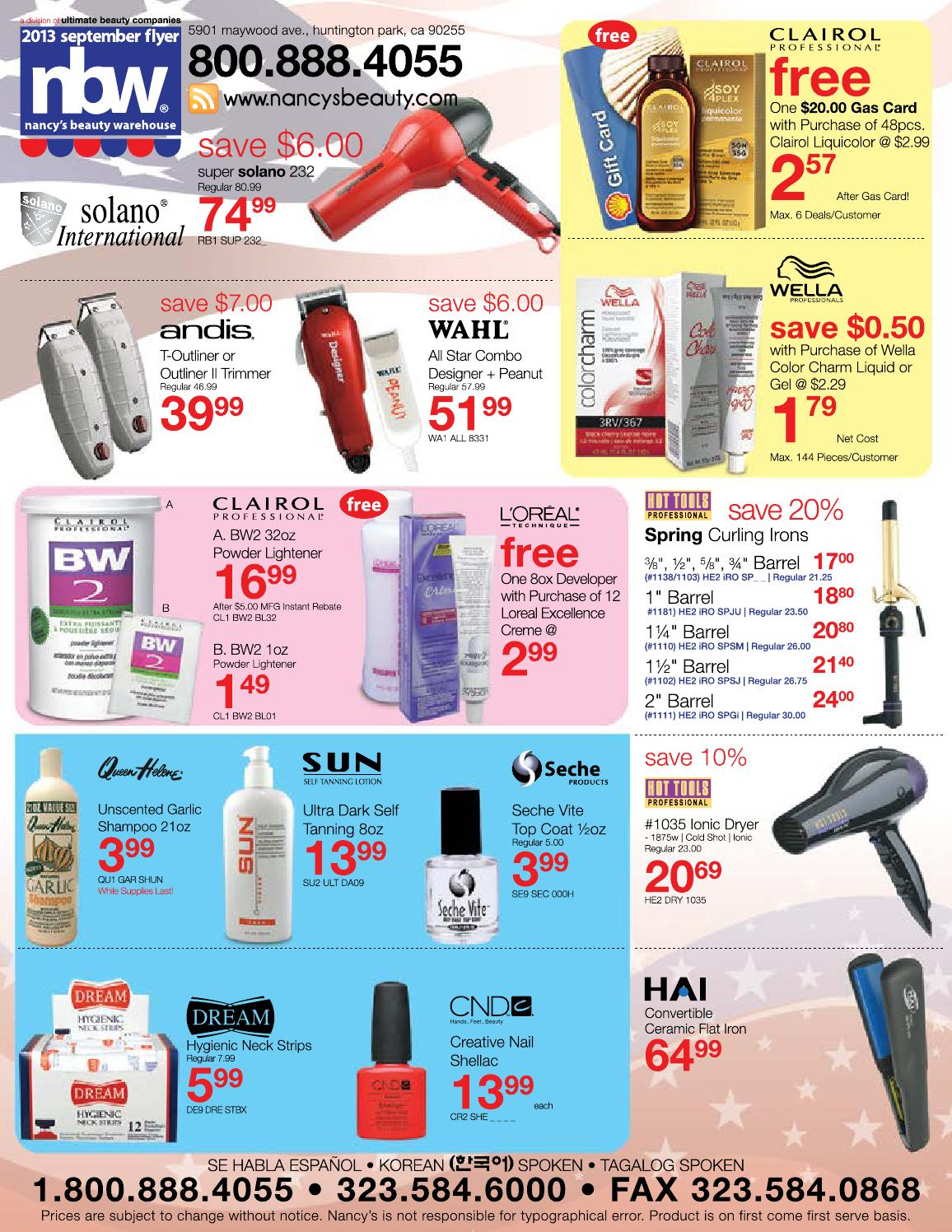 September 2013 supply flyer by nancy 39 s beauty warehouse for Beauty salon equipment warehouse