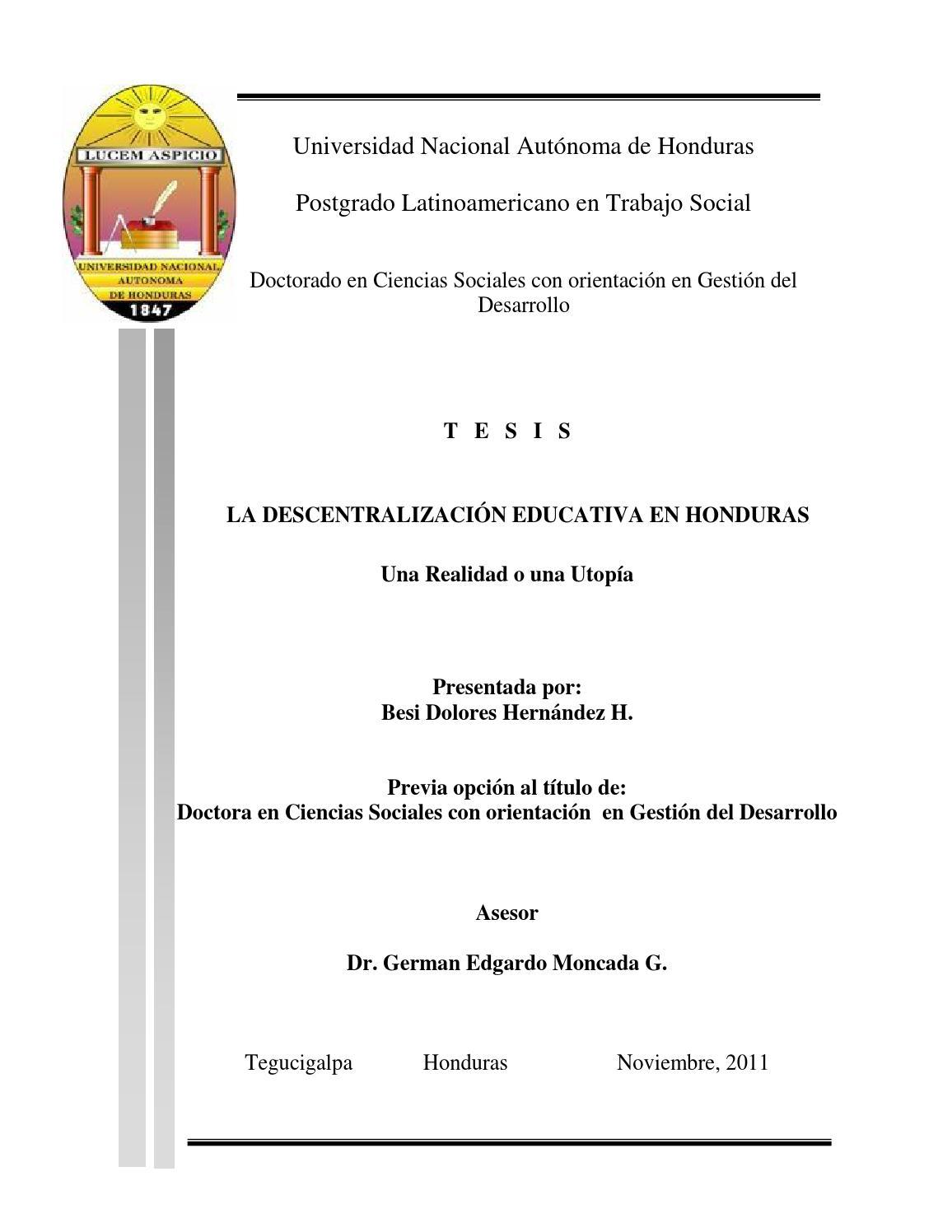 La Descentralización Educativa En Honduras By Doctorado Ccss