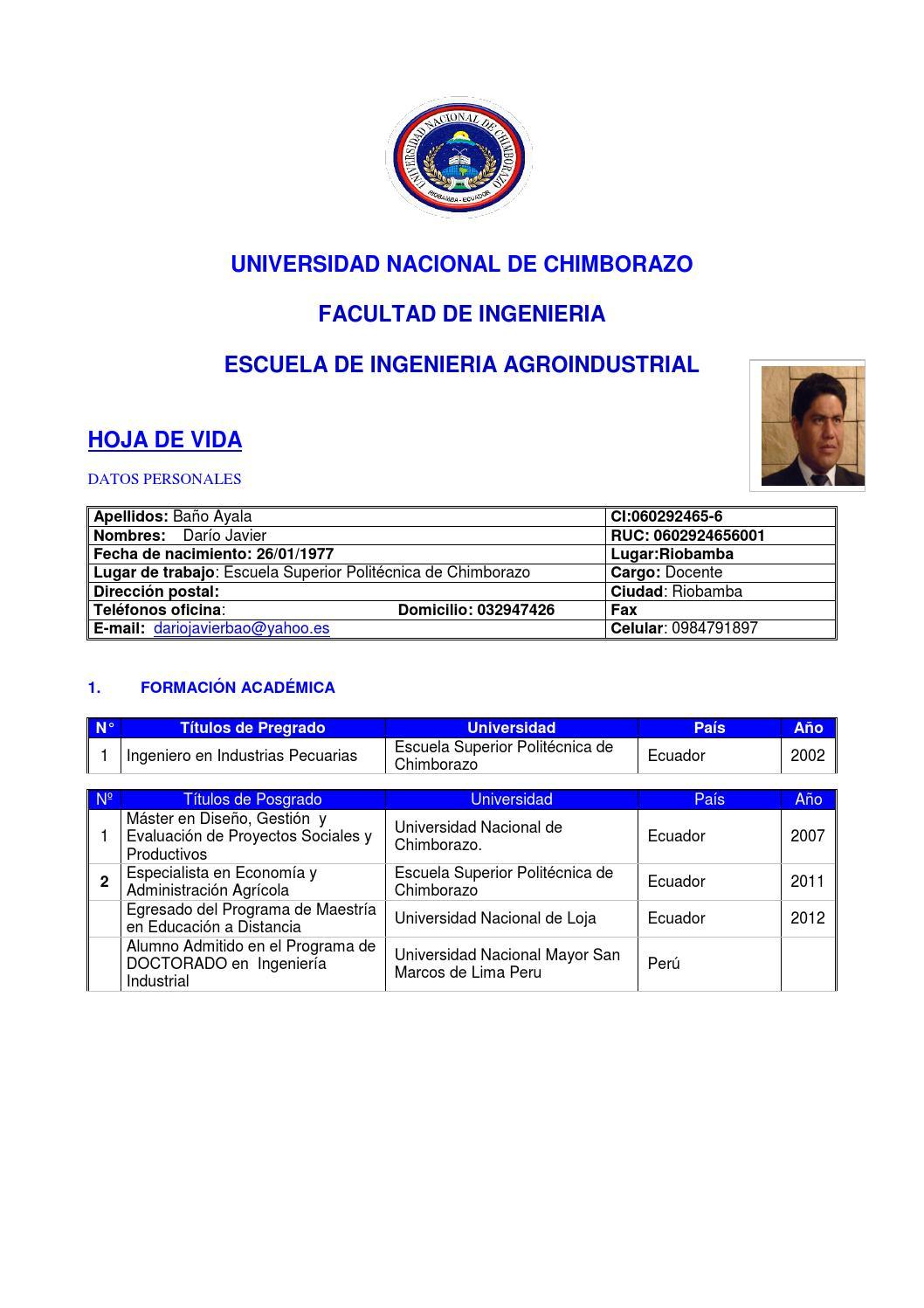 curriculum dario baño unach by djavierba - issuu