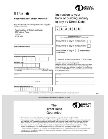 Direct Debit Mandate Form By Royal Institute Of British Architects