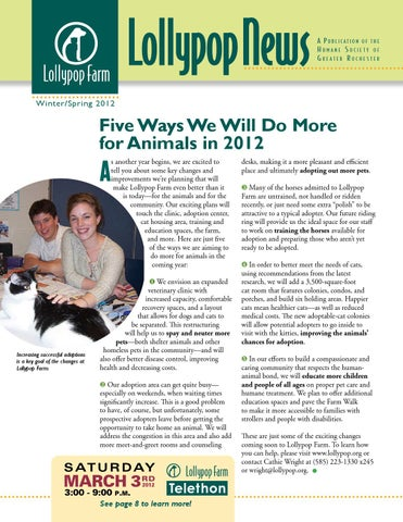 Lollypop News Winters/Spring 2012 by Lollypop Farm, Humane