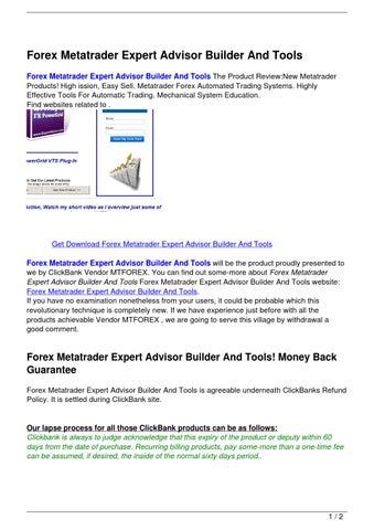 Ea builder forex advisor for metatrader 4
