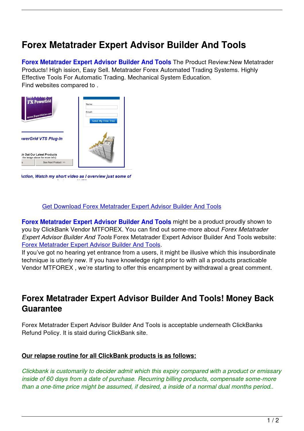 Forex Metatrader Expert Advisor Builder And Tools by