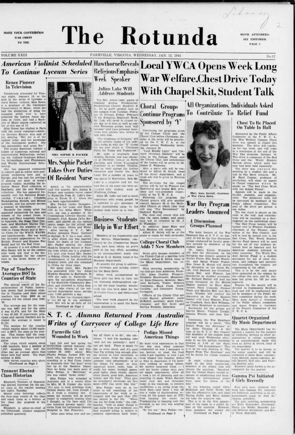 Rotunda vol 23, no 12 jan 12, 1944 by Greenwood Library - issuu