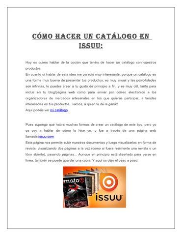 Cómo Hacer Un Catálogo En Issuu By Fer Melgar Issuu