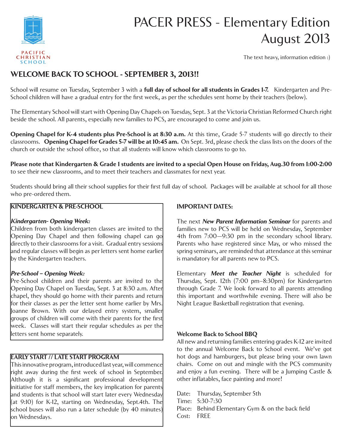 August 2013 Pacer Press - Elementary Edition by Pacific Christian