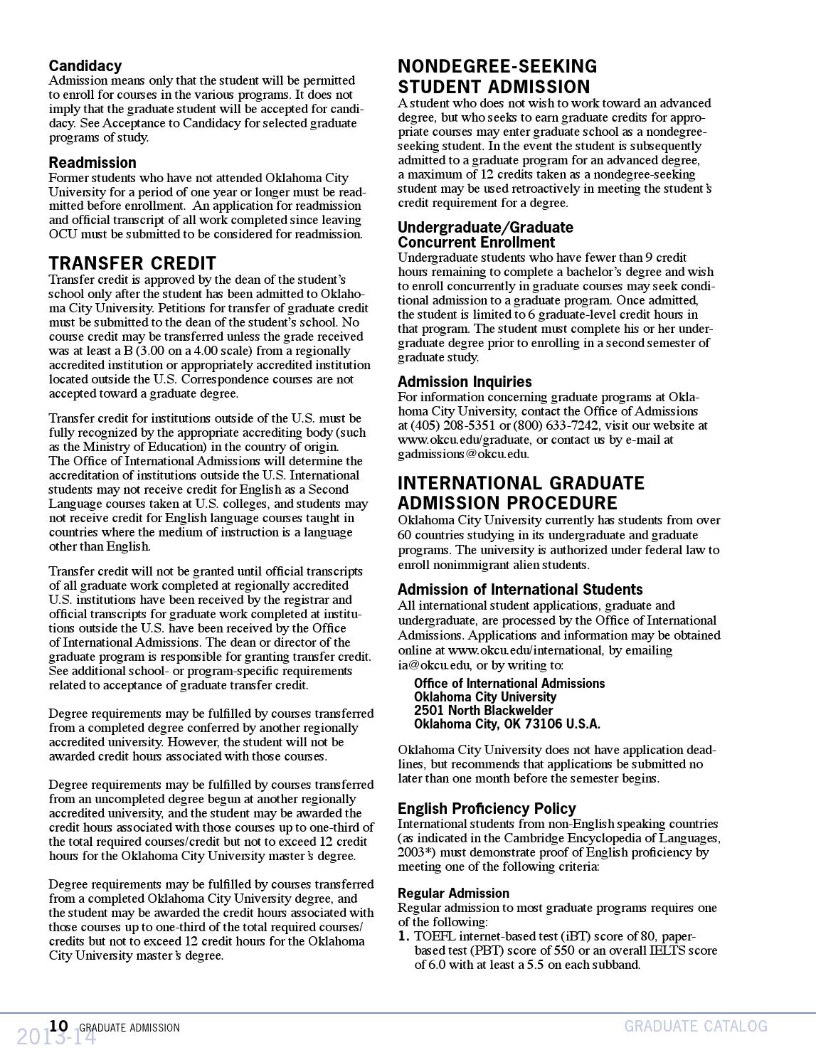 Ocu Graduate Catalog 2013 2014 By Oklahoma City University Issuu