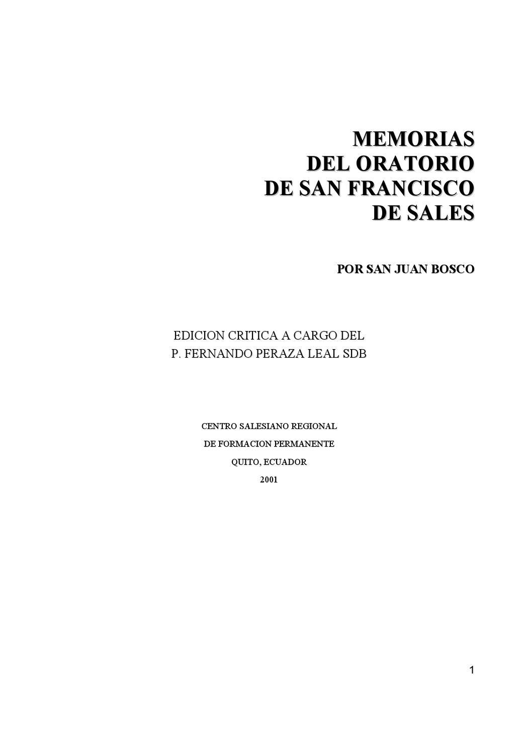 6 4 memorias del oratorio de san francisco de sales by Dr ...