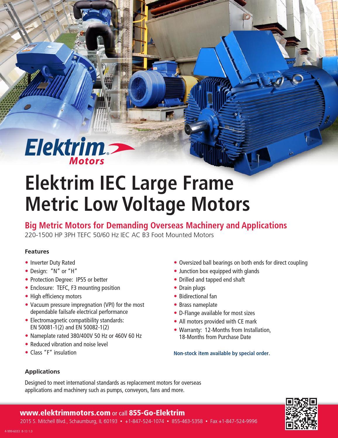 IEC Large Frame Low Voltage Metric Motors by Toolmex