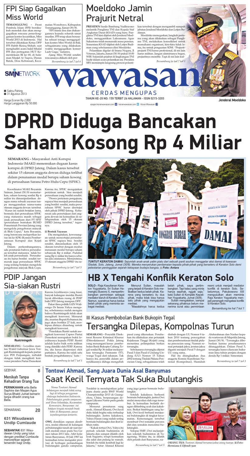 Wawasan 31 Agustus 2013 By Koran Pagi Issuu Produk Ukm Bumn Batik Tulis Babon Angrem
