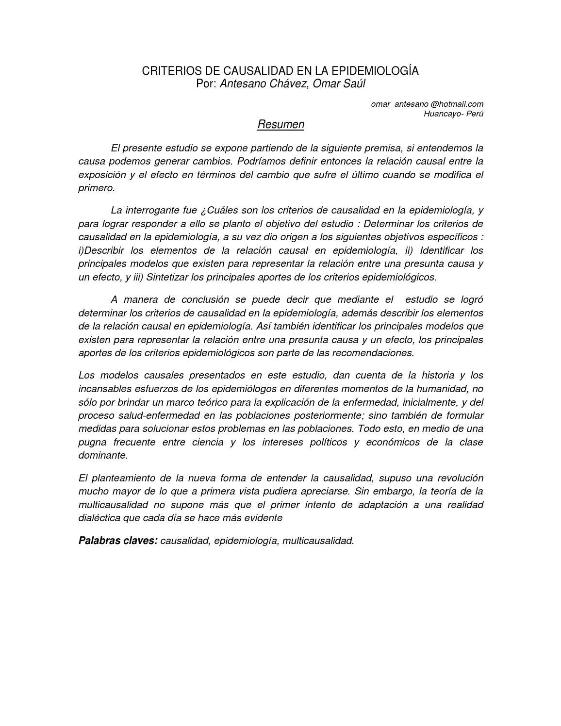 Criterios de Causalidad en la Epidemiologa por Omar Antesano Chvez