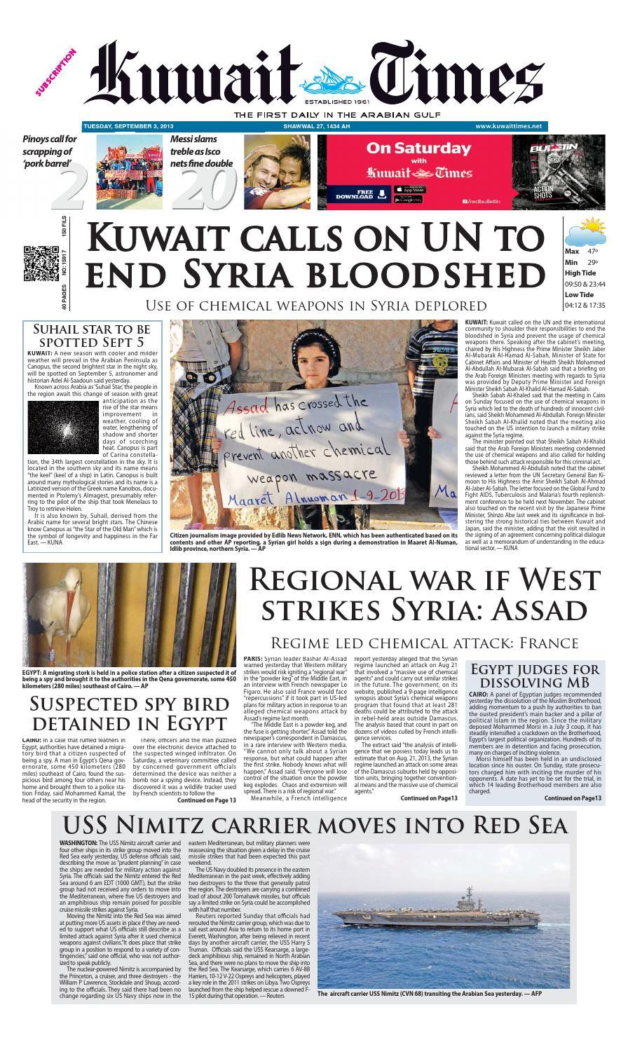 3 Sep 2013 by Kuwait Times - issuu a452d4e328e15