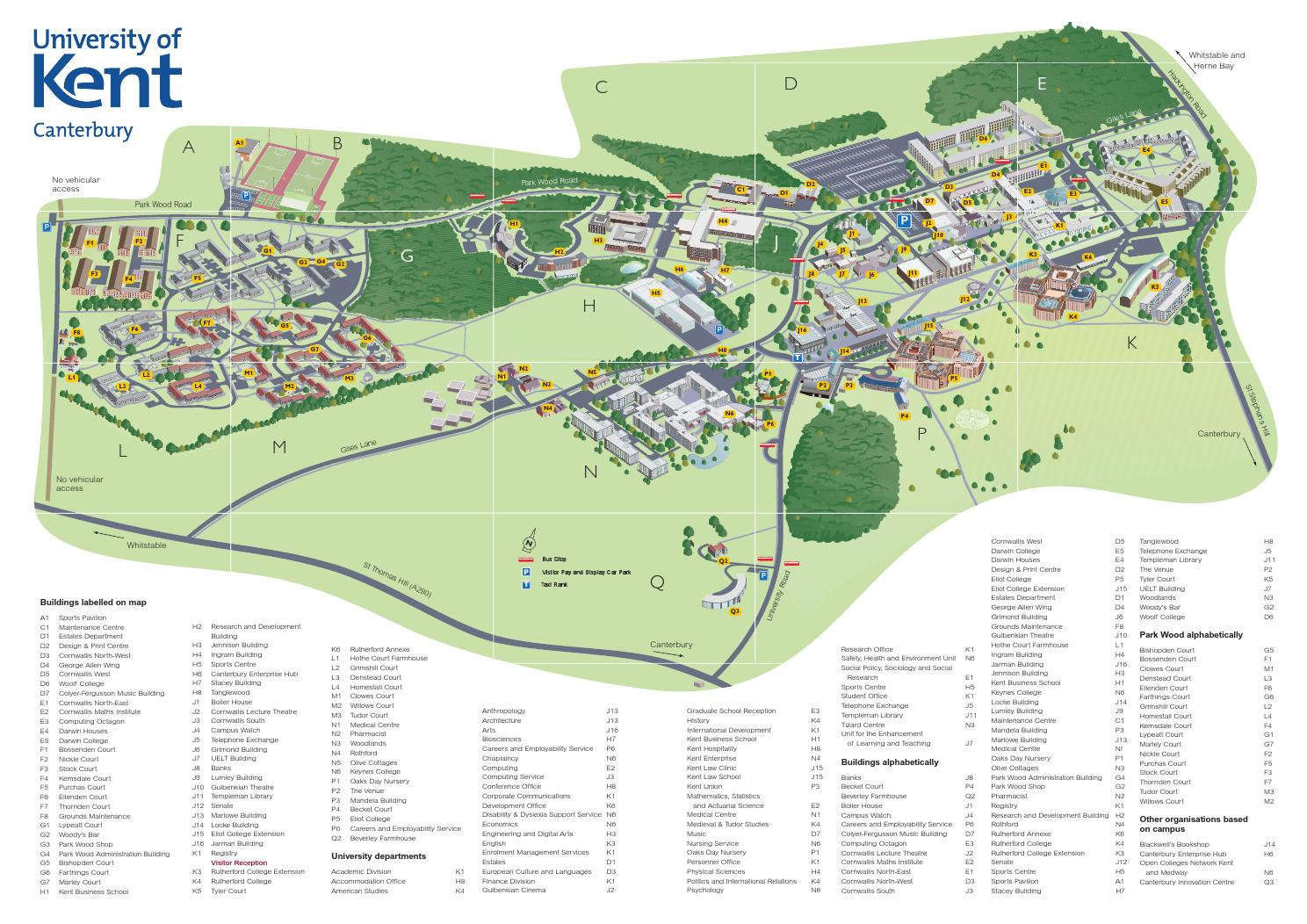 Parkland Campus Map.University Of Kent Canterbury Campus 3d Map Illustration 2013 By