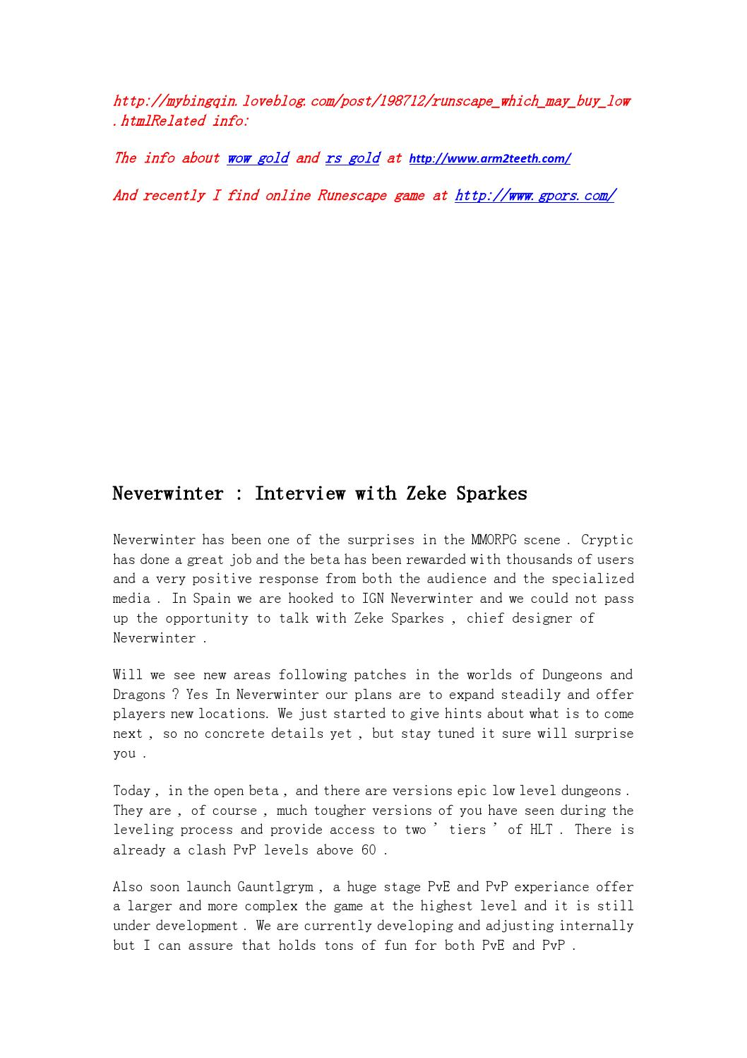 Neverwinter interview with zeke sparkes by Enid Hubbard - issuu