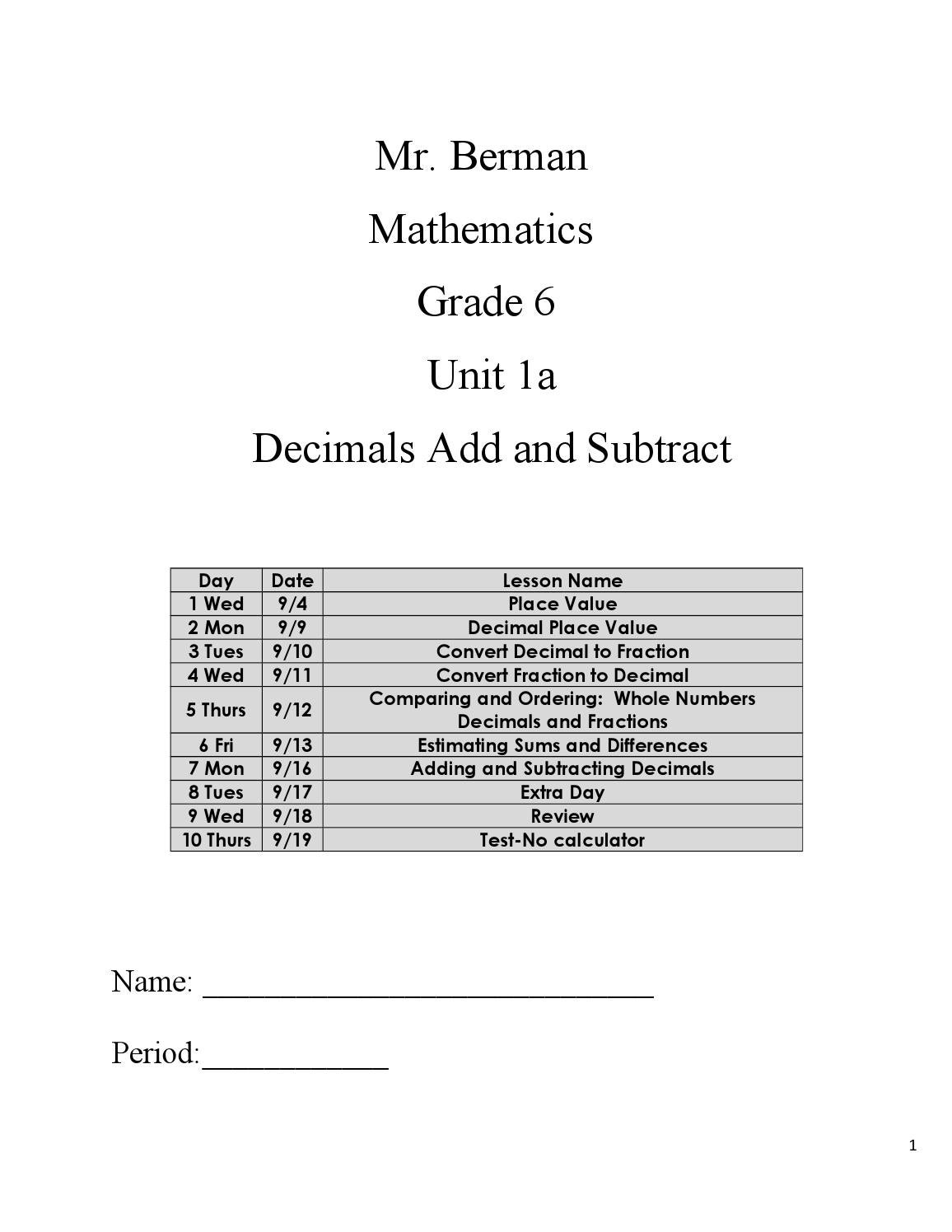 Contemporary Grade 7 Fractions Test Gift - General Worksheet ...
