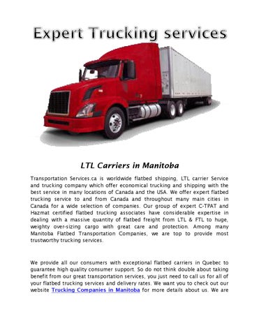 Trucking companies in manitoba by Transportation Services