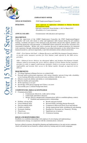 Job Posting Fnjf Employment Support Counsellor By Lmdc Issuu