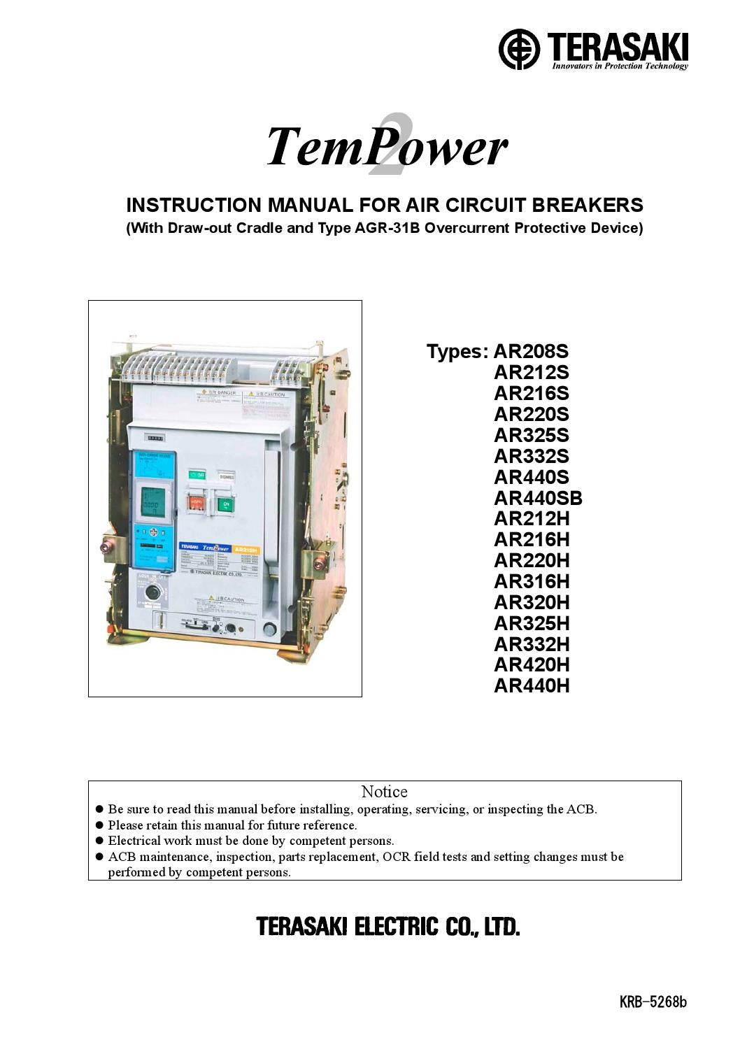 Ar4 With Agr 31b Manual By Terasaki Issuu Typical Circuit Breaker Nameplate Iec 60947 Is The