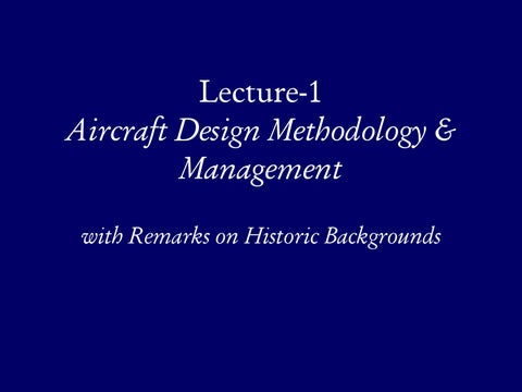 Page 2 of Aircraft Design Methodology & Management with Remarks on Historic Backgrounds