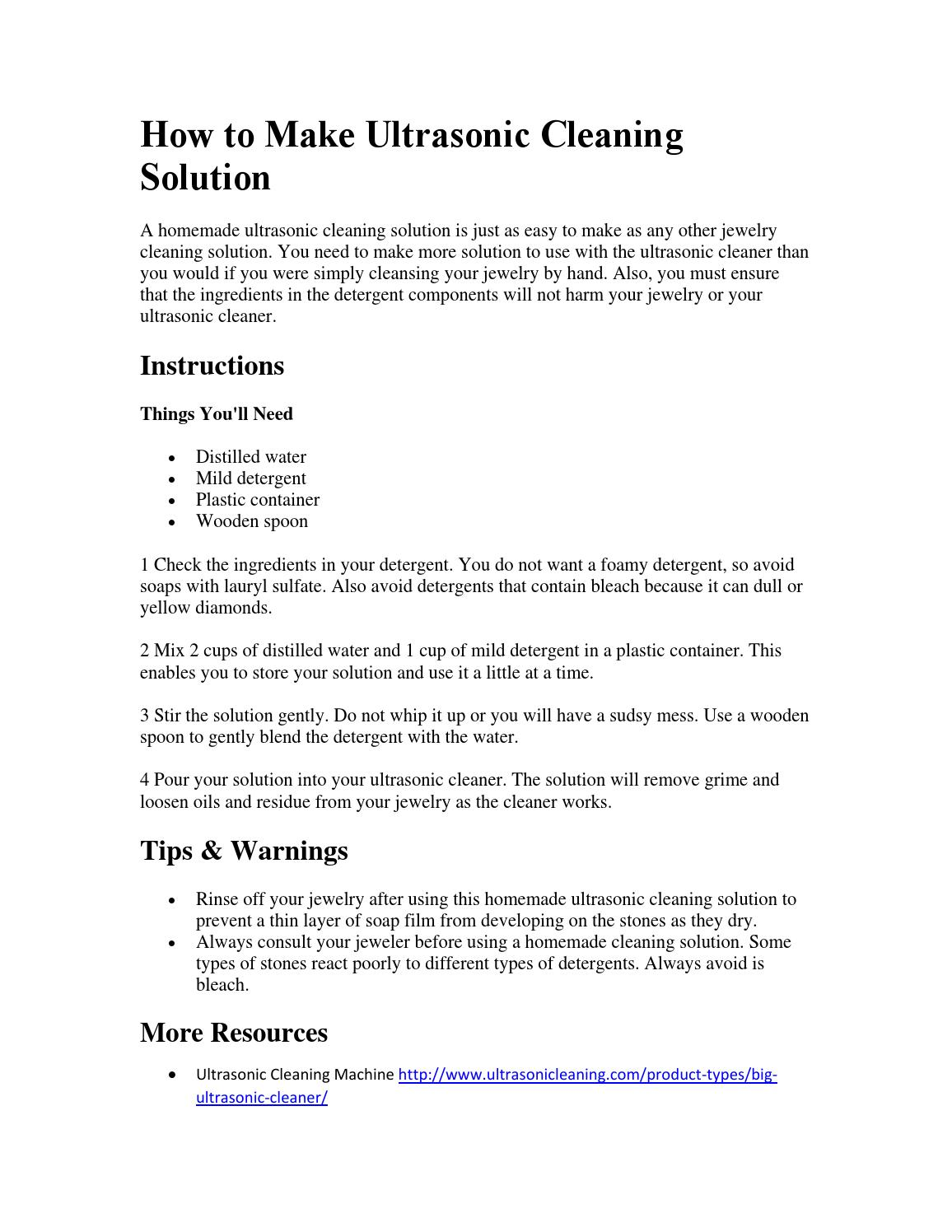 How to make ultrasonic cleaning solution by Jessie Wang - issuu
