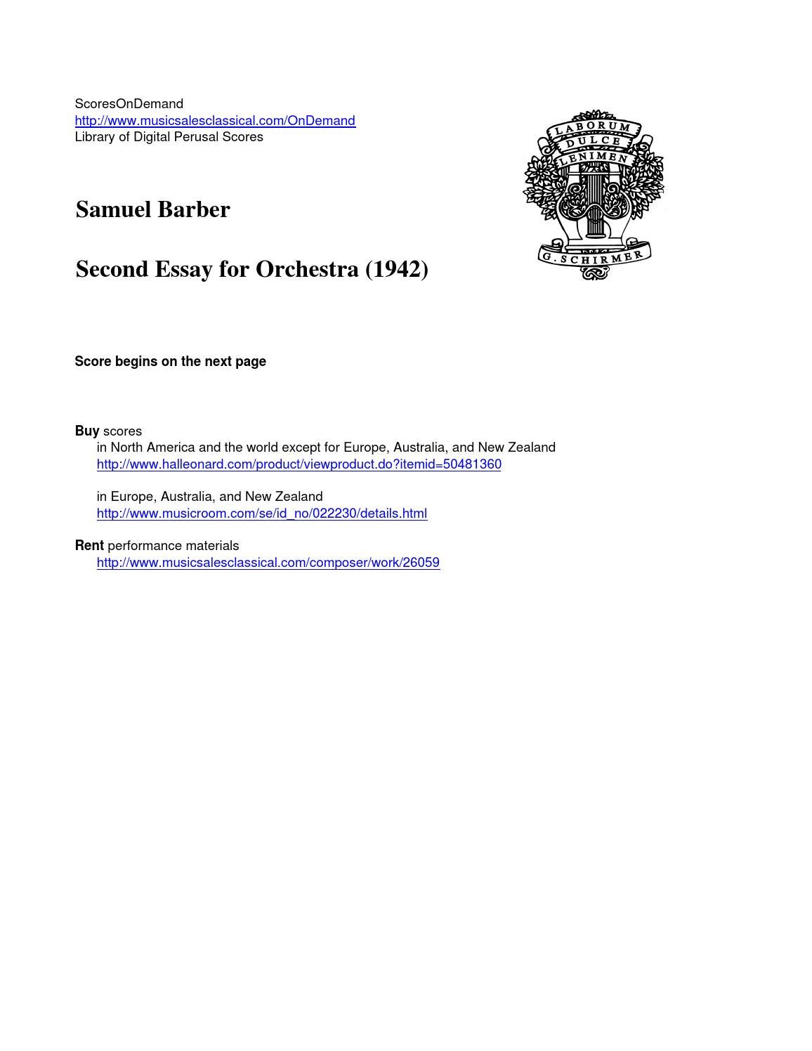 samuel barber second essay for orchestra music s second essay 26059 3 years ago scoresondemand