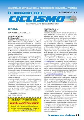 Prossime Gare E Comunicati Ufficiali Fci By Federciclismo Issuu