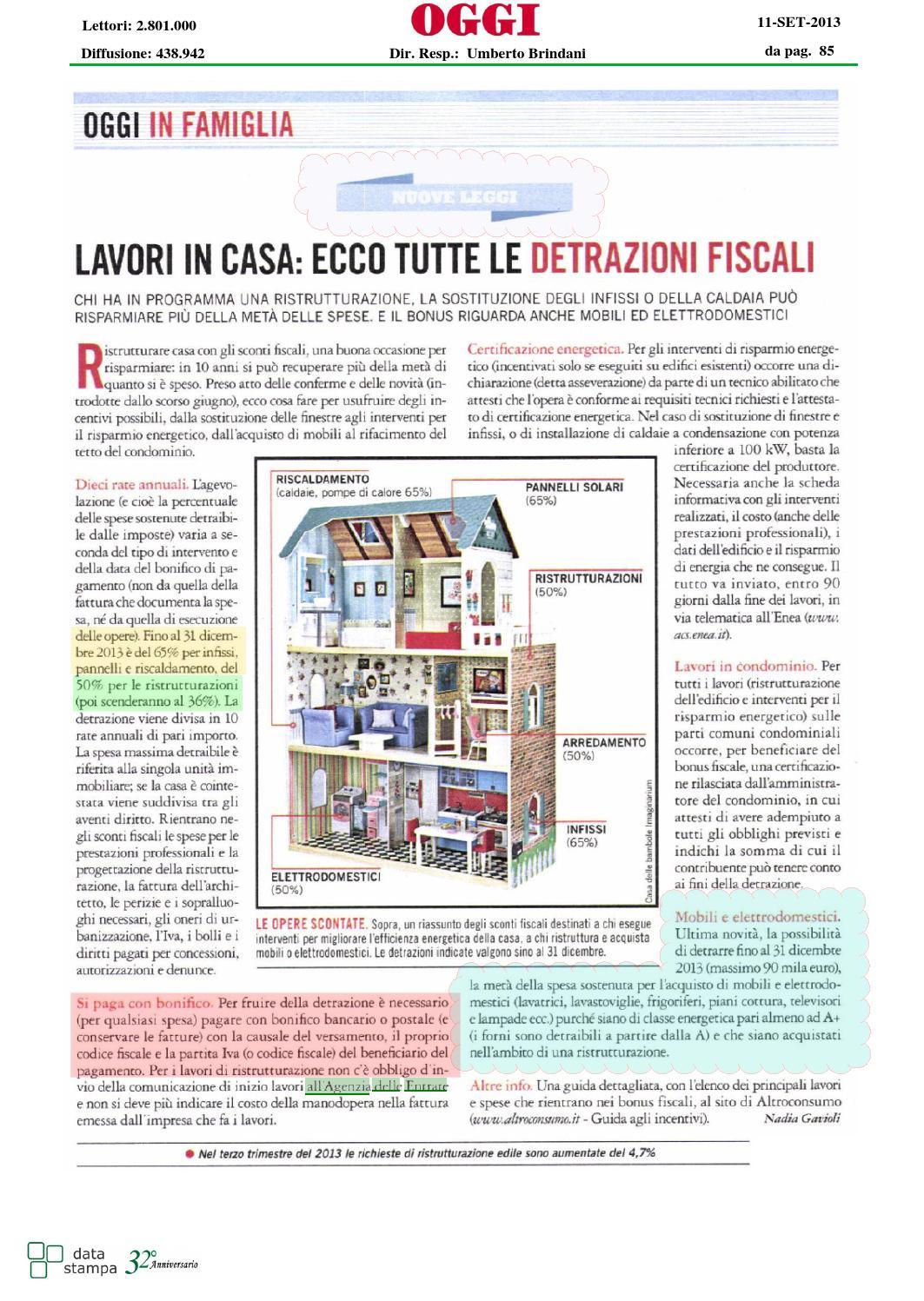 Lavori in casa ecco tutte le detrazioni fiscali by mike issuu - Detrazioni fiscali ristrutturazione seconda casa ...
