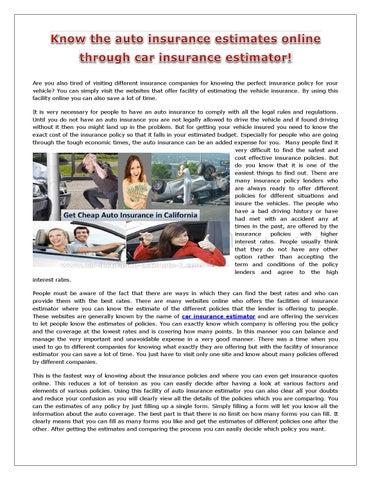 Car Insurance Estimator >> Know The Auto Insurance Estimates Online Through Car Insurance