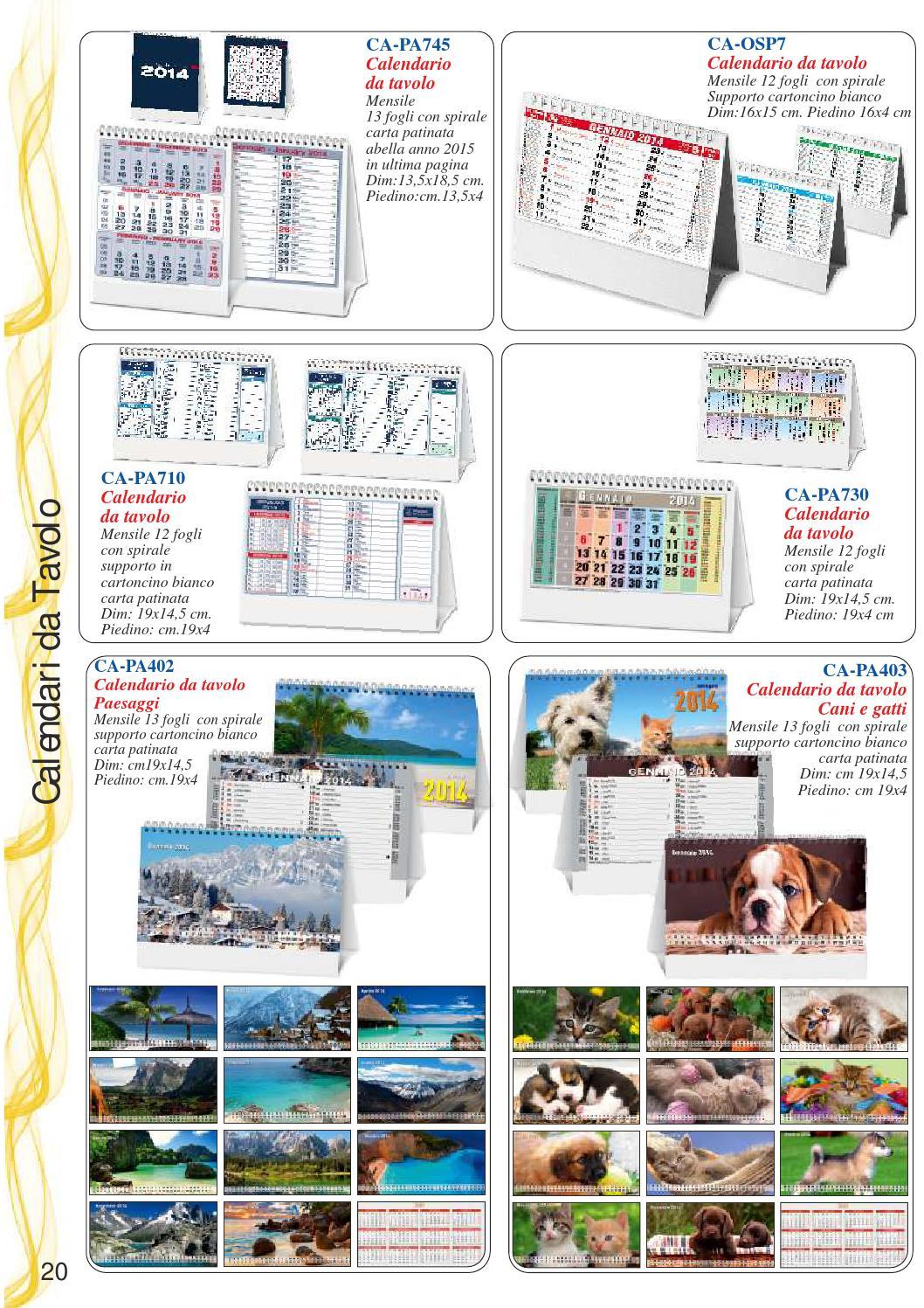 Calendario Anno 2015 Mensile.Catalogo Calendari Agende 2014 By Market Screentypographic