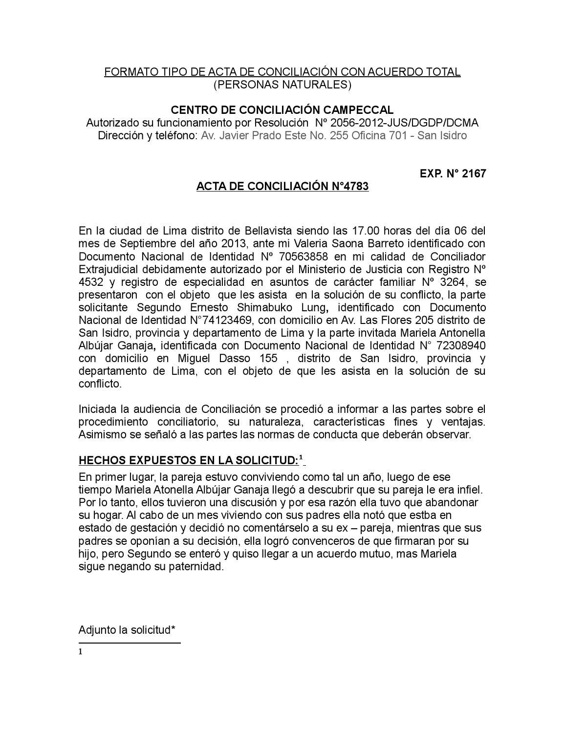 Formato tipo de acta de conciliaci n con acuerdo total by for Modelo acuerdo extrajudicial clausula suelo