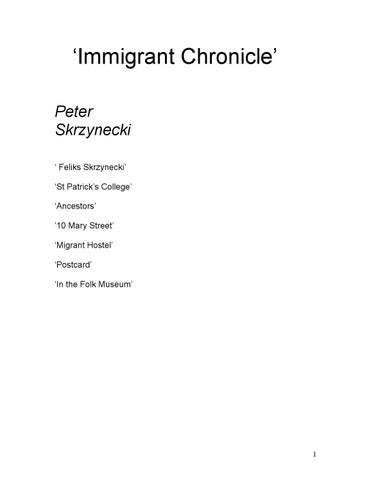 immigrant chronicles by peter skrzynecki From peter carey  the writer and the city  poetry – peter skrzynecki,  immigrant chronicle  immigrants at central station, 1951  feliks skrzynecki.