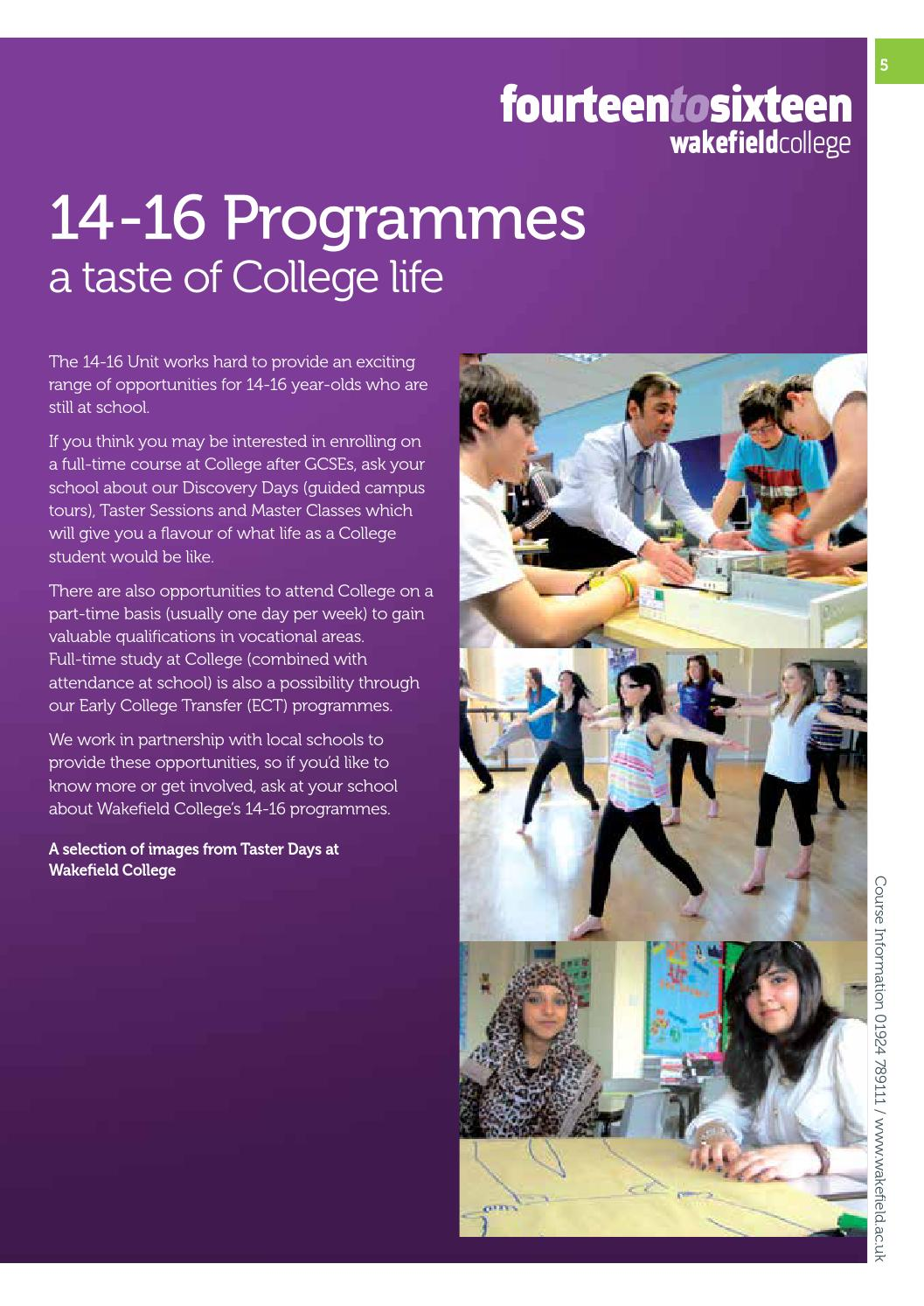 Wakefield College School Leaver Prospectus 2014 15 By Wakefield College Issuu