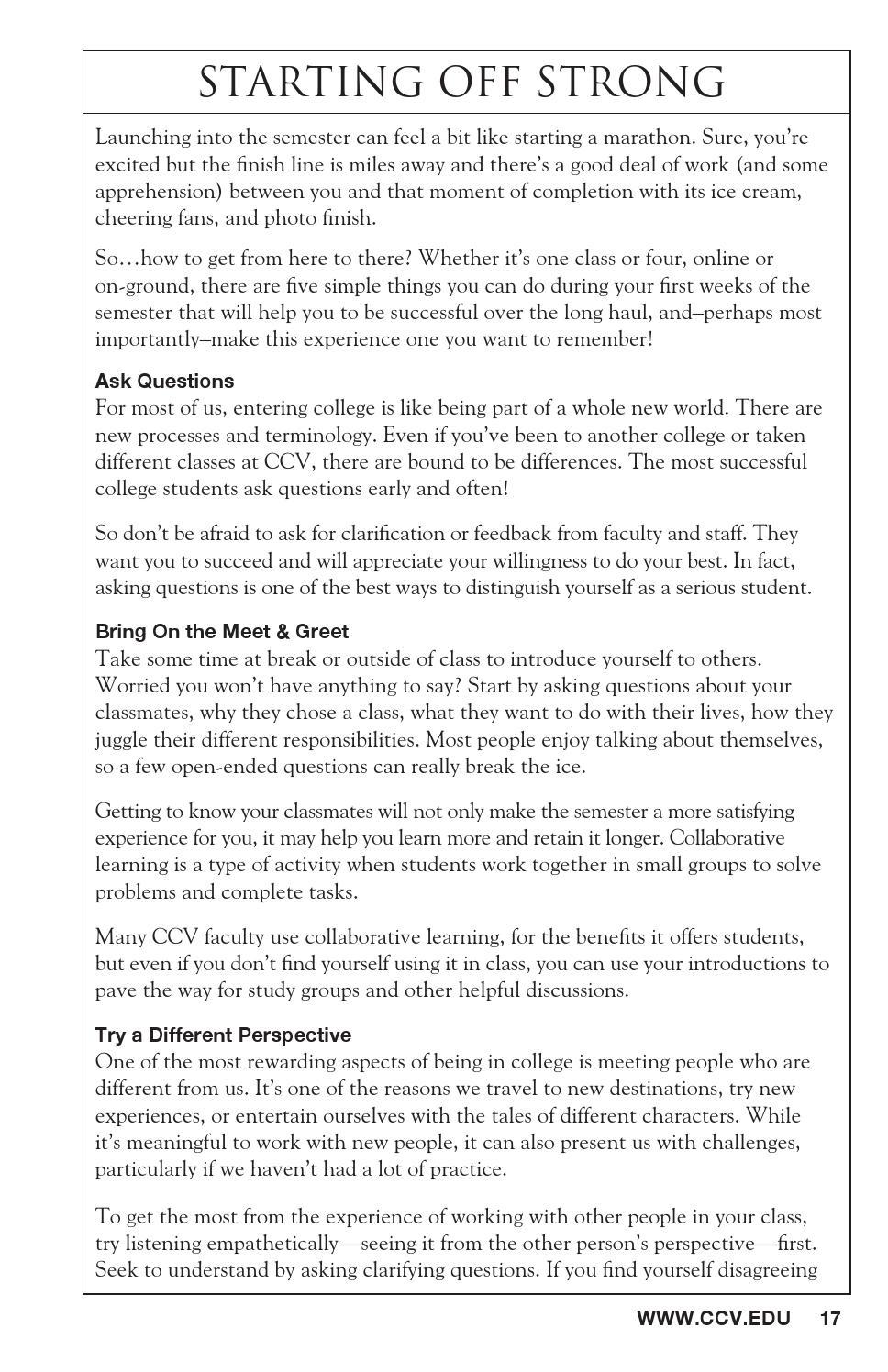 CCV Student Handbook 13-14 by Community College of Vermont