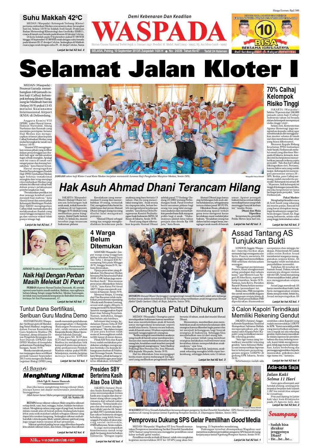 Waspada Selasa 10 September 2013 By Harian Waspada Issuu
