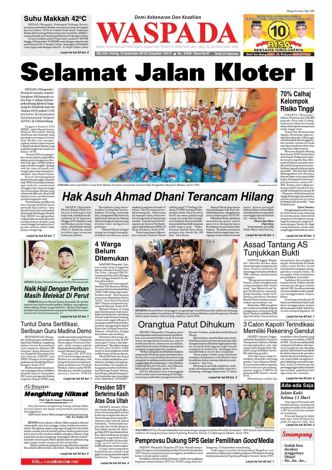 Waspada Selasa 10 September 2013 By Harian Waspada Issuu