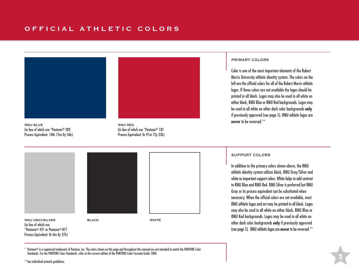 RMU Athletics Graphics Standard Manual by Robert Morris