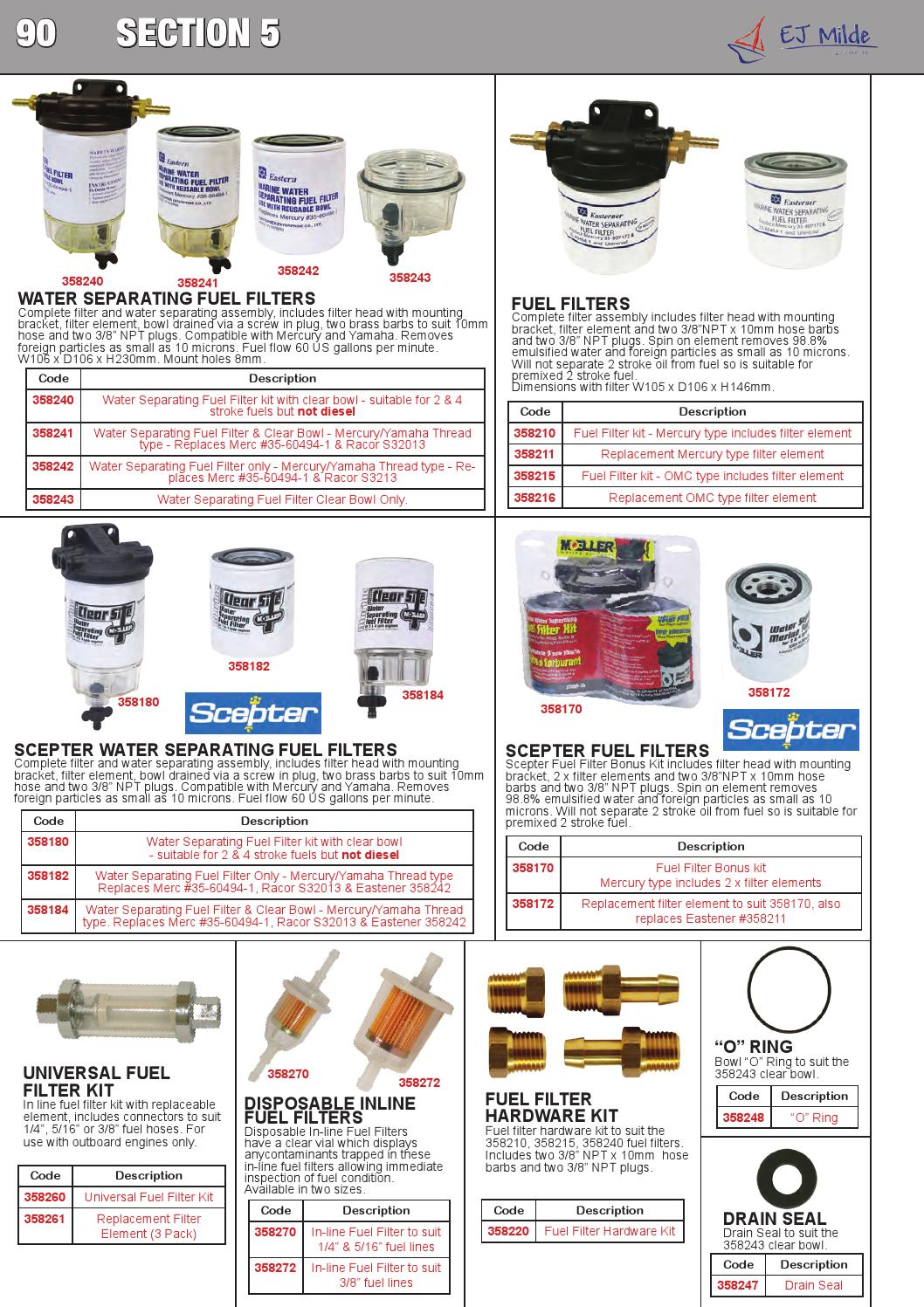 Boat Water Separating Trap /& Drain MARINE FUEL FILTER ELEMENT /& CLEAR BOWL ONLY