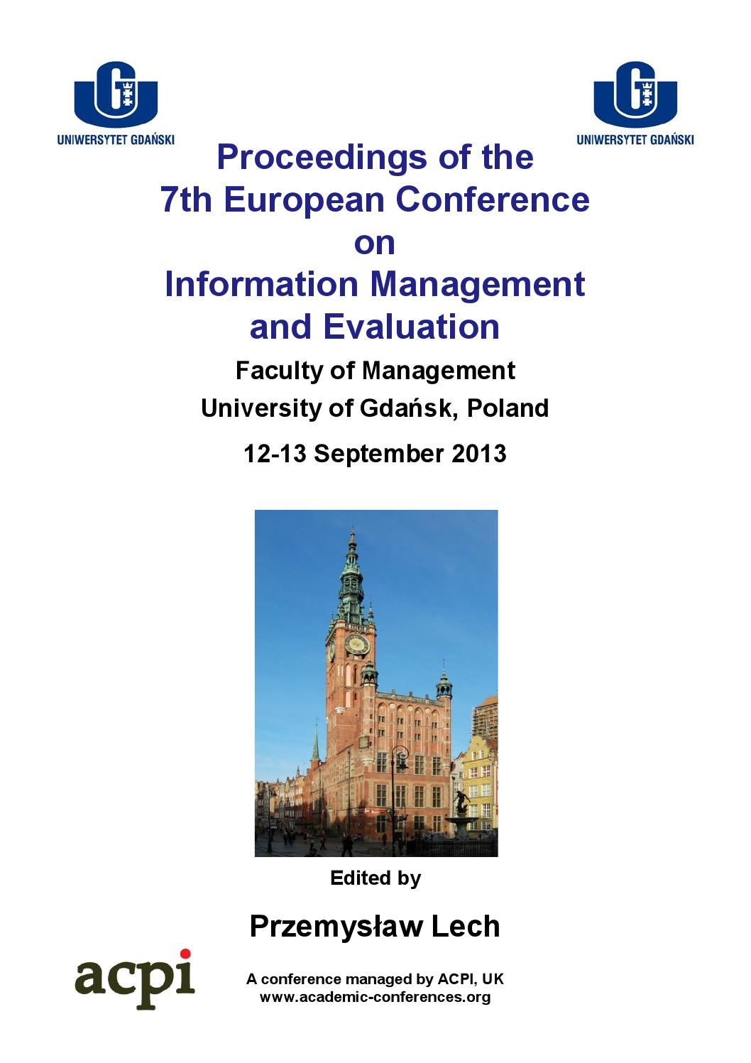 Proceedings of the 7th European Conference on Information Management and  Evaluation ECIME 2013 by ACPIL - issuu