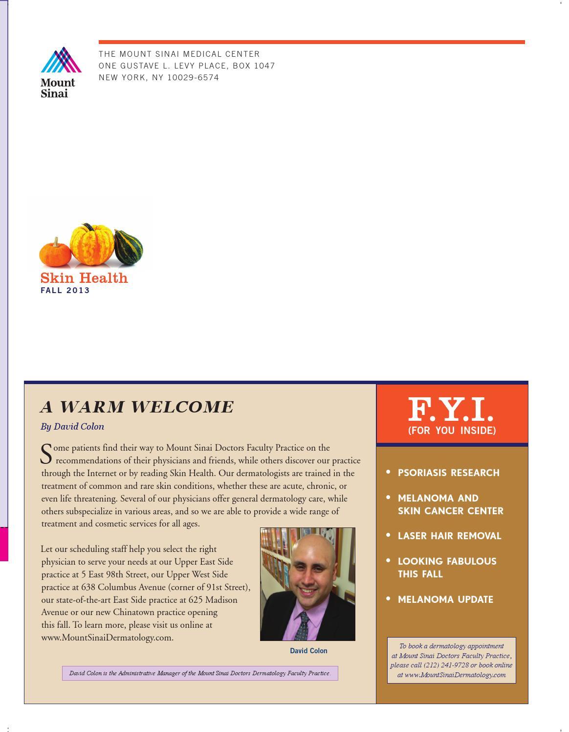 Skin Health - Fall 2013 Newsletter by Mount Sinai Health