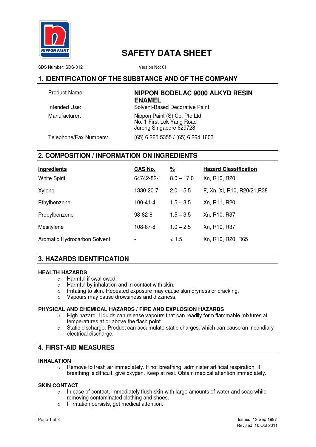 Nippon bodelac 9000 alkyd resin enamel sds 10 10 2011 by