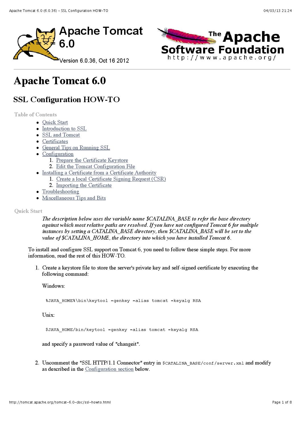 Apache Tomcat 6 0 6 0 36 Ssl Configuration How To By Fabio Ciao