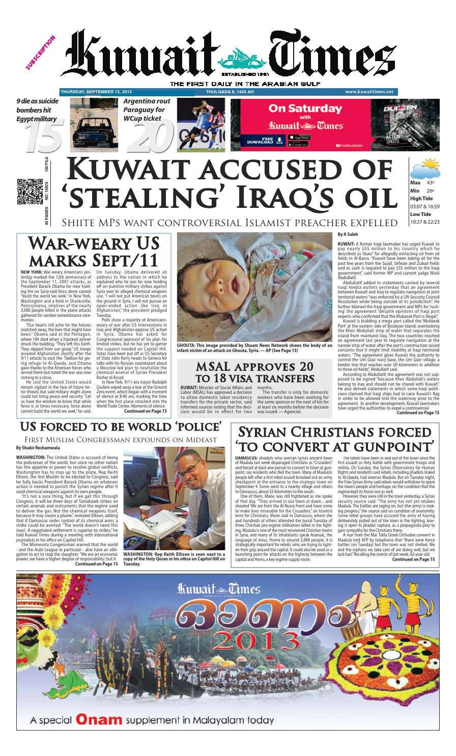 12th Sep 2013 by Kuwait Times - issuu