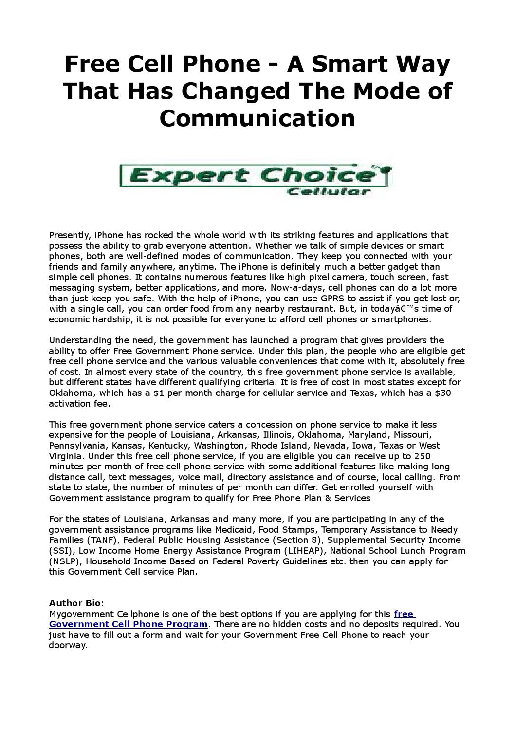 Free cell phone a smart way that has changed the mode of communication by  Govcell phone - issuu