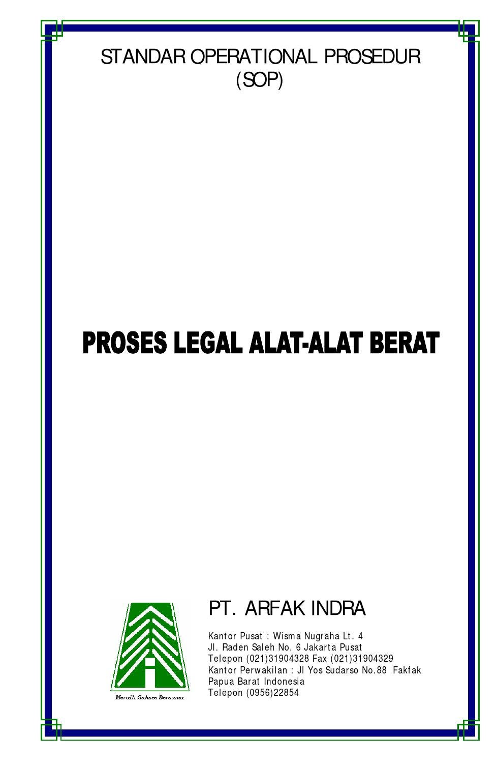 Sop Proses Legal Alat Alat Berat By Arfak Indra Issuu
