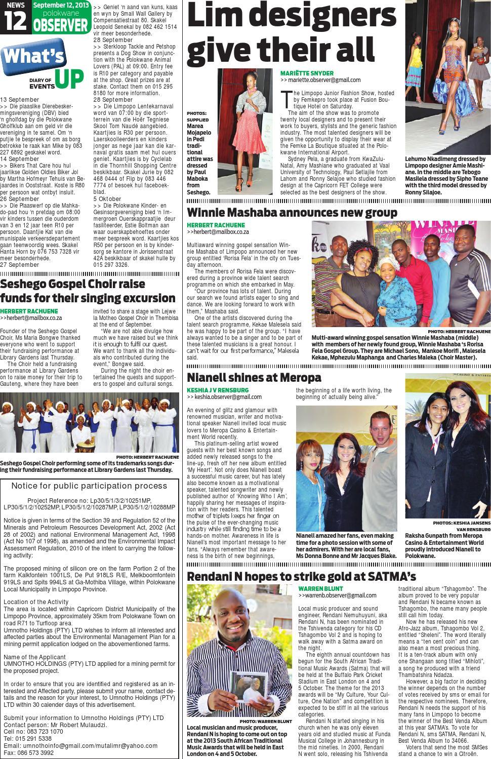Polokwane Observer 12 September 2013r By Polokwane Observer Issuu