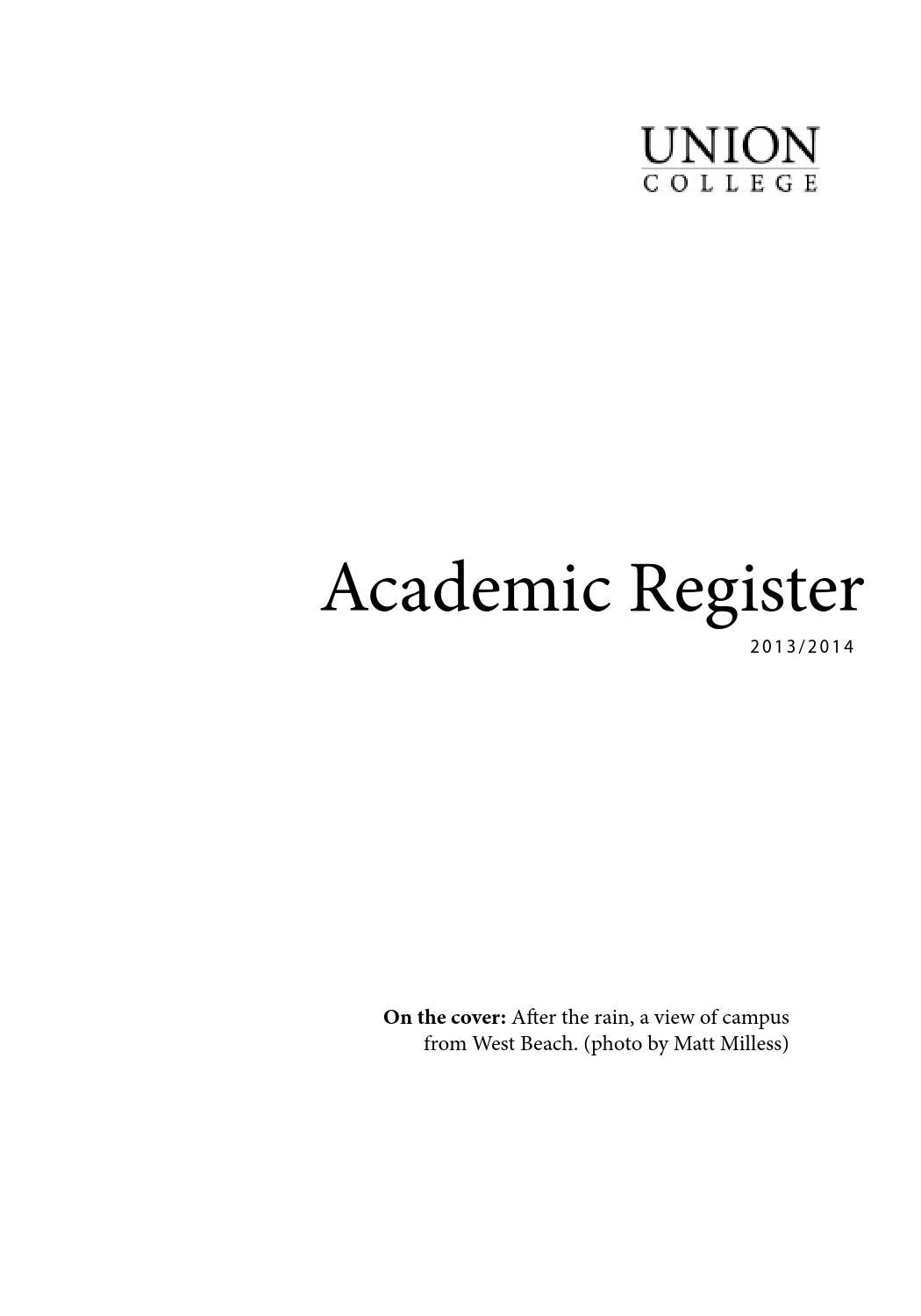 Academic Register 2013 14 By Union College Issuu